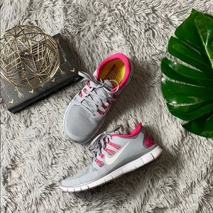 Nike run natural grey and pink sneakers size 9